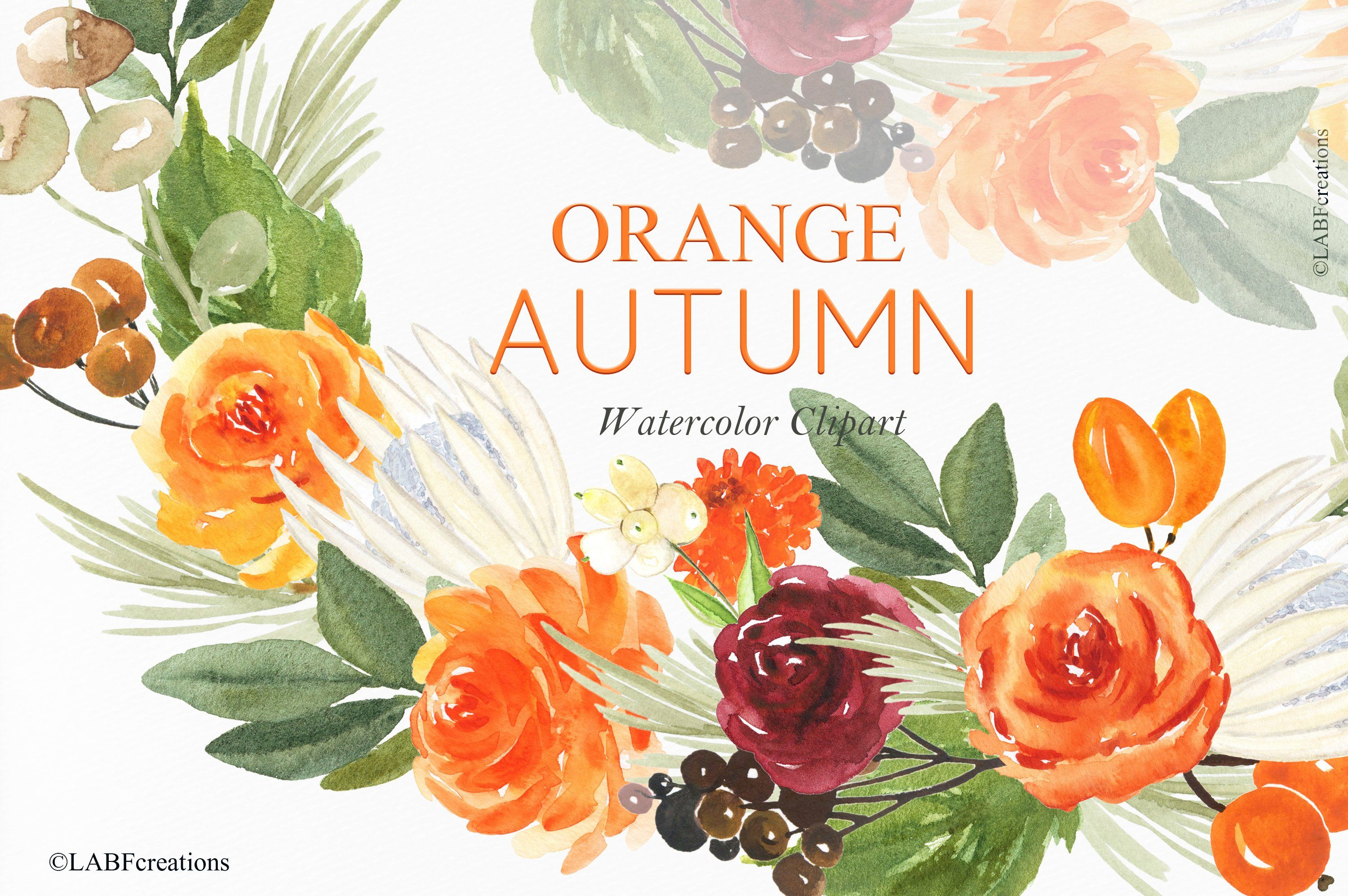 Orange Autumn Watercolor Flowers With Images Watercolor