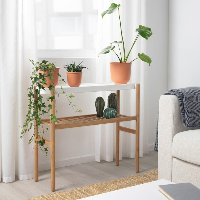SATSUMAS Plant stand - bamboo, white - IKEA -   18 pidestall plants Stand ideas