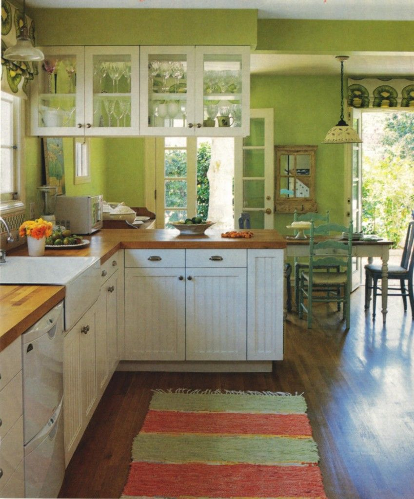 Kiwi Green Kitchen Caroline Rhea S Kiwi Color Kitchen With White Cabinets By Amanda Nisbet Ho Green Kitchen Designs Green Kitchen Walls Green Kitchen Decor