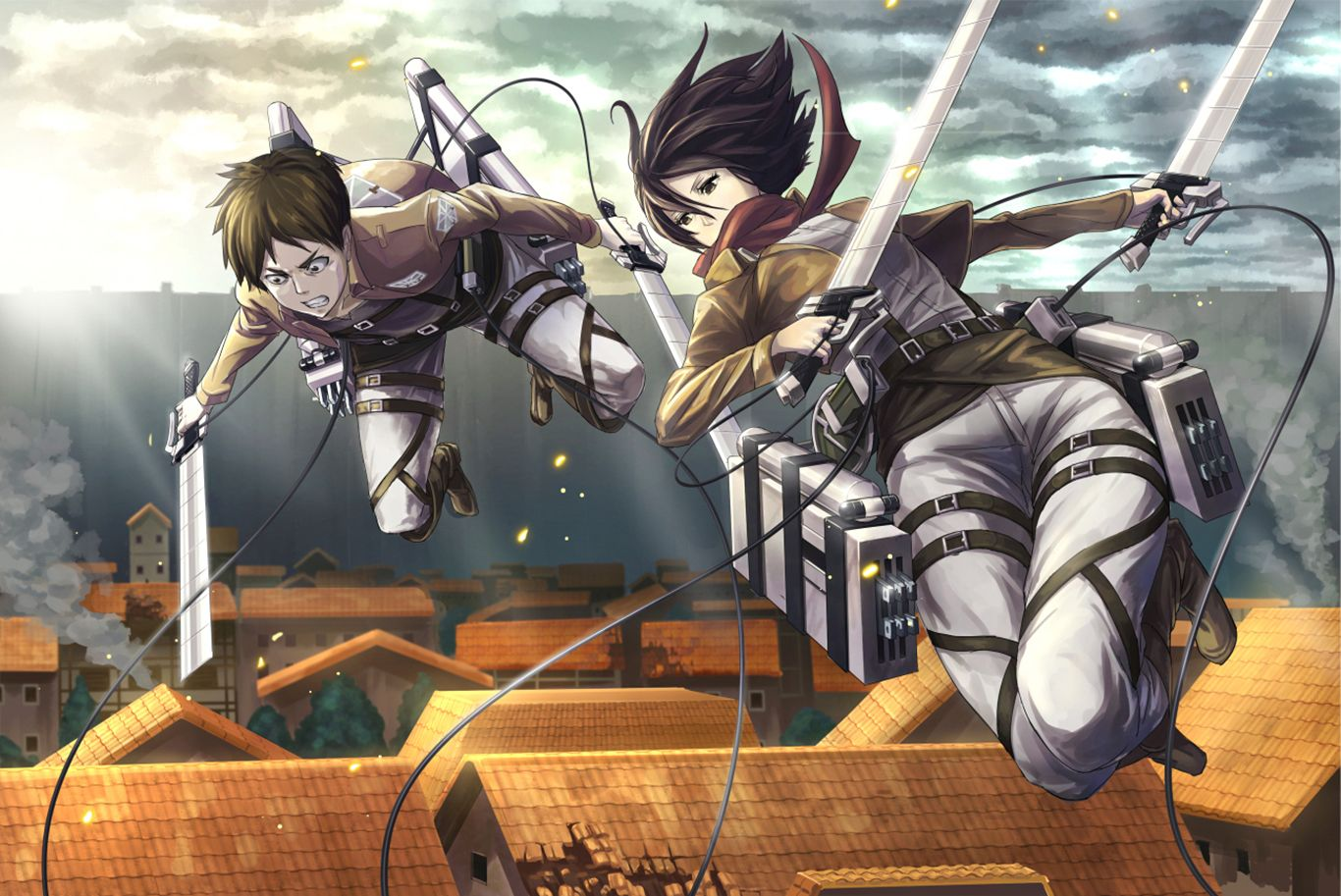 Eren And Mikasa Computer Wallpapers Desktop Backgrounds 1366x913 Id 653502 Attack On Titan Anime Eren And Mikasa Attack On Titan