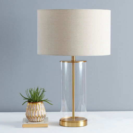 Gold Glass Cylinder Table Lamp with Natural Shade in 2020