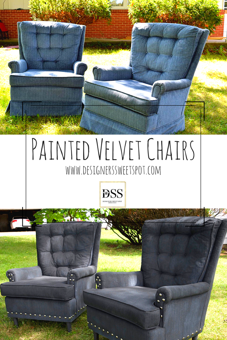 Painted Velvet Chairs, Easy Update - Cozy Traditional Home #paintfabric