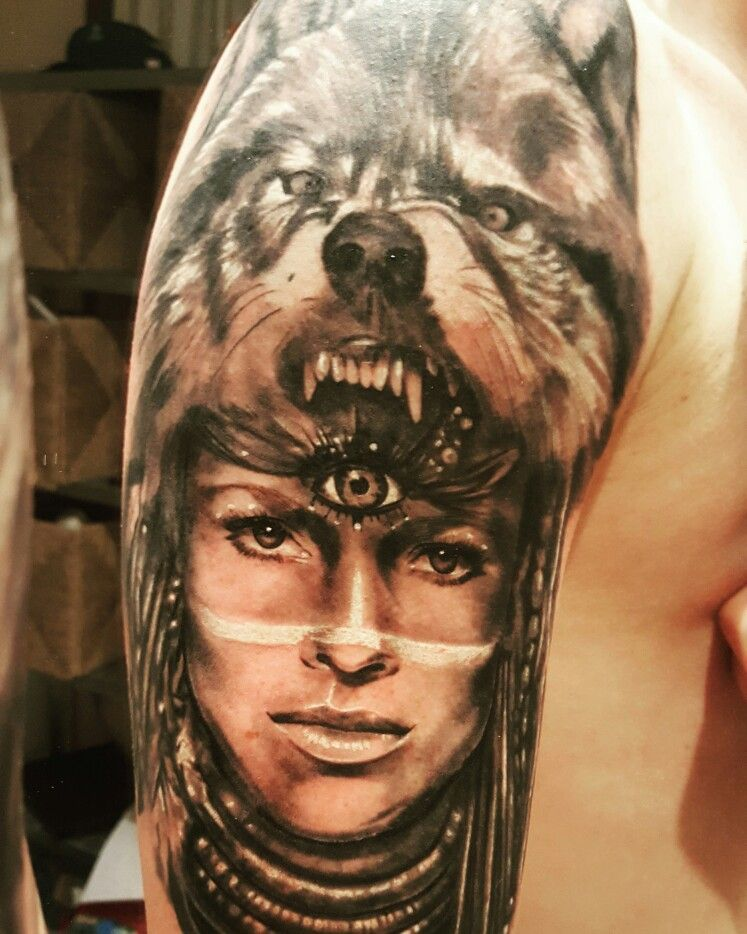 Tattoo Wolf And Native American Girl It S Mine And I Love It Native American Girls Native American Tattoos Wolf Tattoos