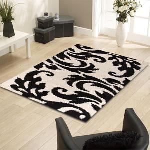 Damask Style Print Rug Black White 230x160cm Deals Direct