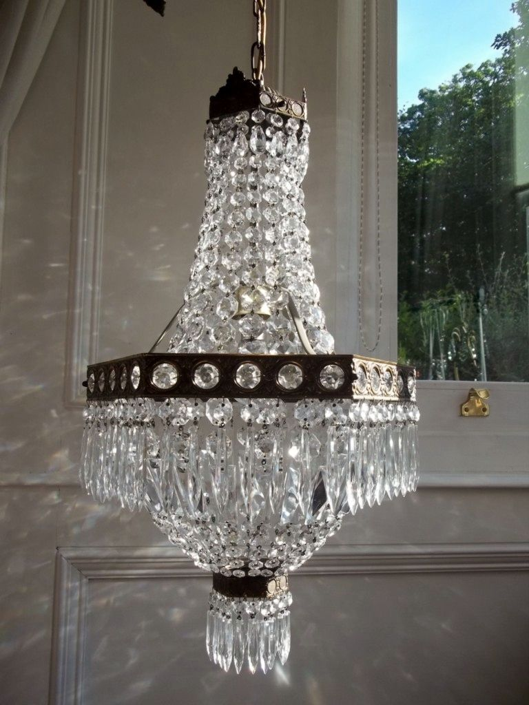 Large Vintage Italian Tent Bag Crystal Chandelier Crystal