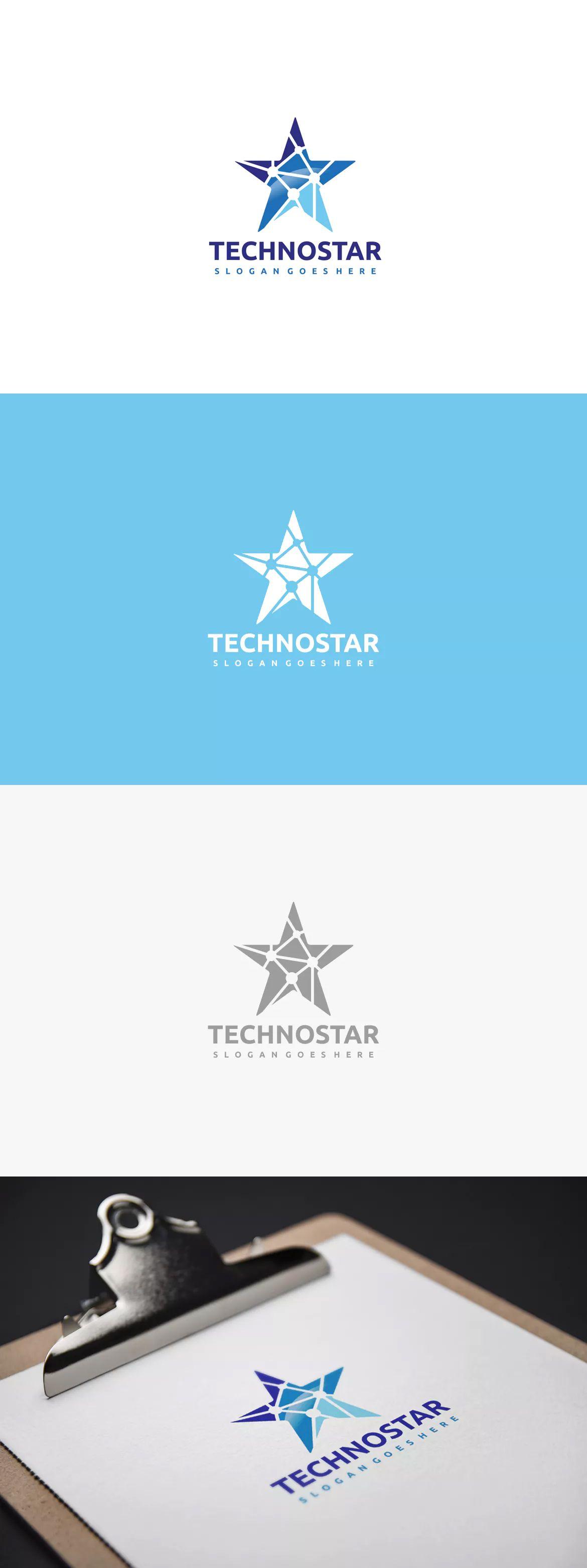 Technology Star Logo Template EPS, AI | logo | Pinterest | Star logo ...