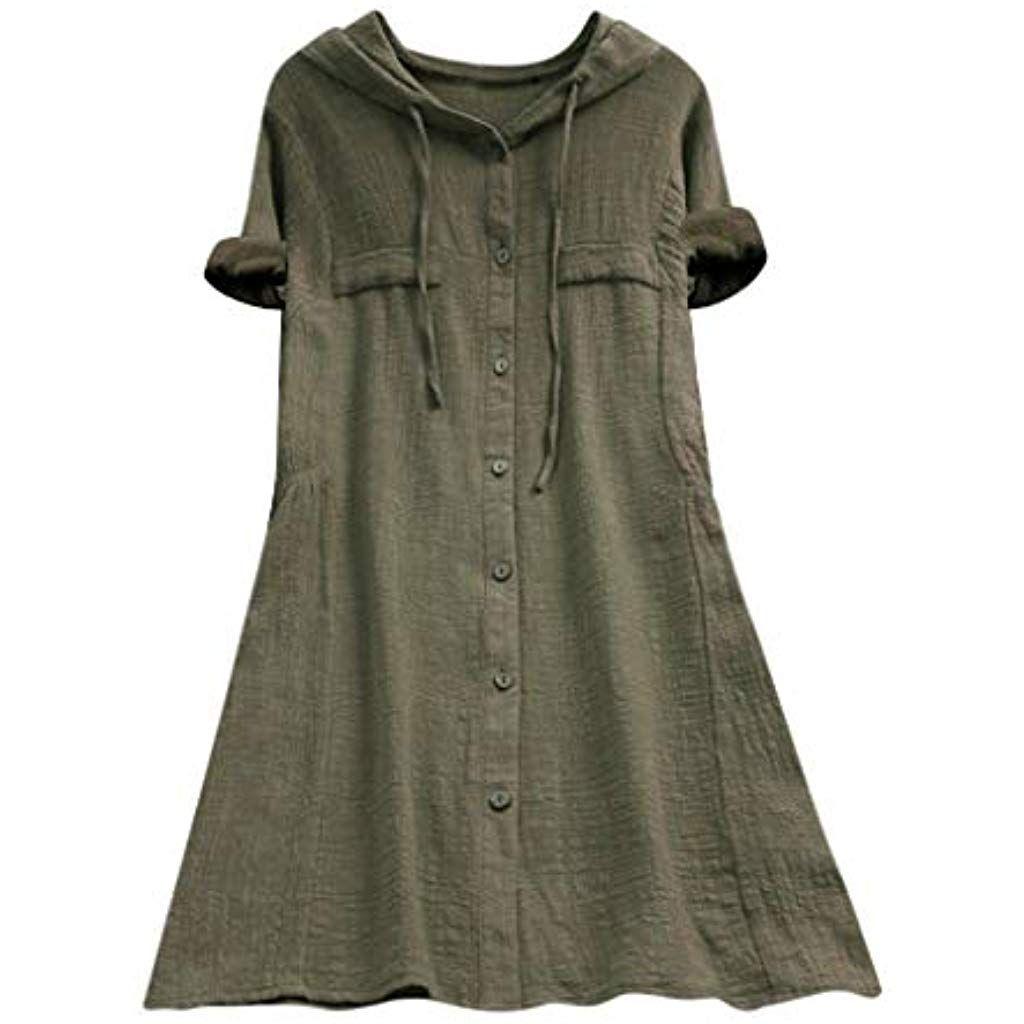 Hemden Frauen Bluse Blusen Tunika Damen Schlank Leinen Baumwolle Kleid Herbst