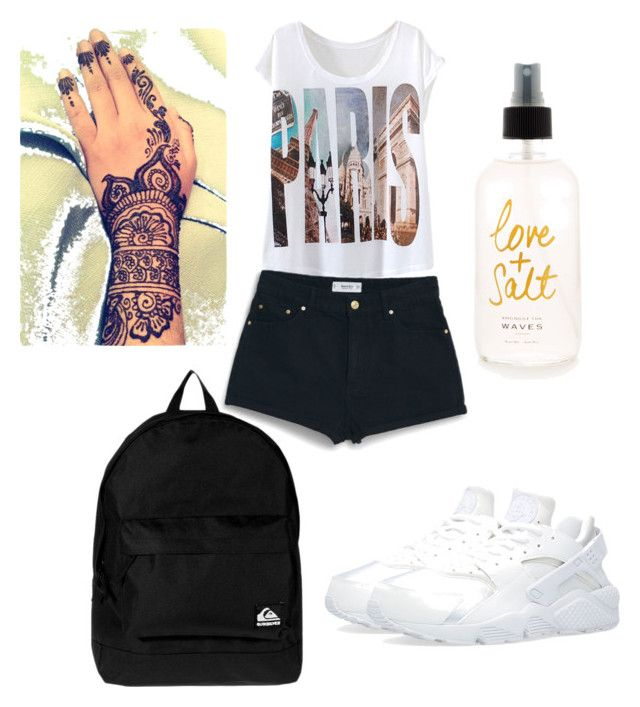 """Untitled #44"" by zaykend ❤ liked on Polyvore featuring MANGO, Quiksilver, NIKE, women's clothing, women, female, woman, misses and juniors"