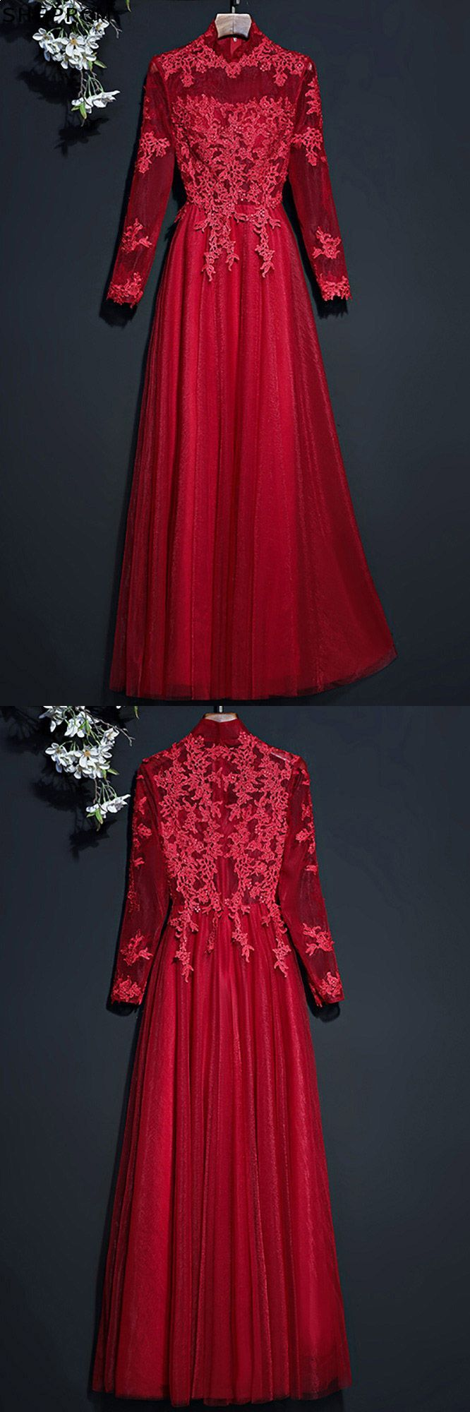 Vintage lace high neck prom party dress with long sleeves