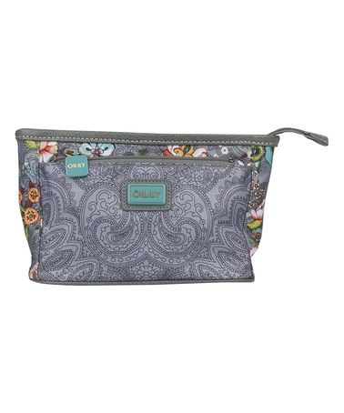 Gray French Flowers Small Cosmetic Bag by Oilily #zulily #zulilyfinds