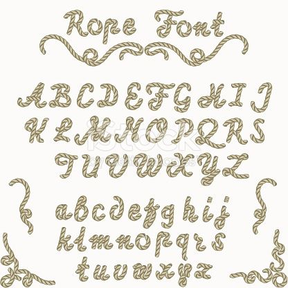 Rope font, nautical hand written Letters, sea style rope-characters