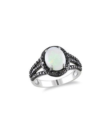 Look at this #zulilyfind! Opal & Black Diamond Ring #zulilyfinds