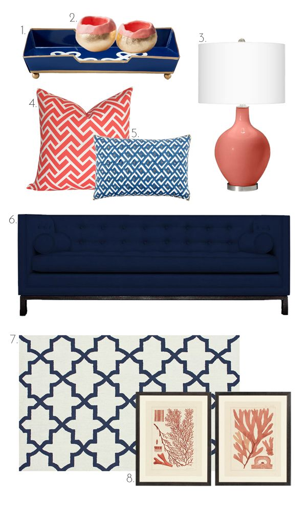The Pink Doormat Coral And Navy Living Room Orange Coral Living Rooms Living Room Designs