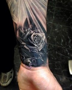 Realistic Red Roses Half Sleeve Tattoo Andrey Barkov Grimmy Wrist Tattoos For Guys Quarter Sleeve Tattoos Rose Tattoos For Men