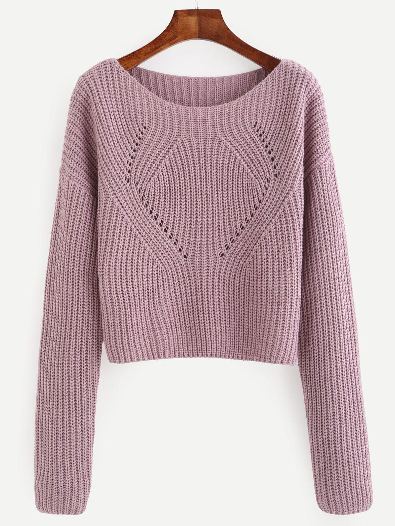 Jersey manga larga - violeta claro   Pinterest   Tejido, Dos agujas ...