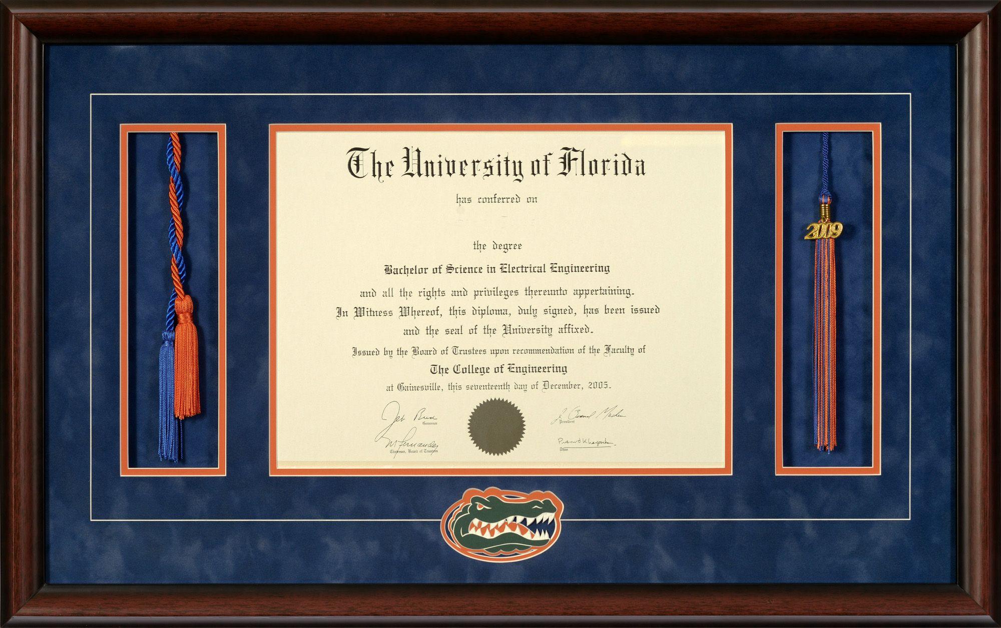 University Of Florida Diploma Frame With Honor Cords Tassel Opening Gators Head Logo Talking Walls Diploma Frame Graduation Frame Diploma