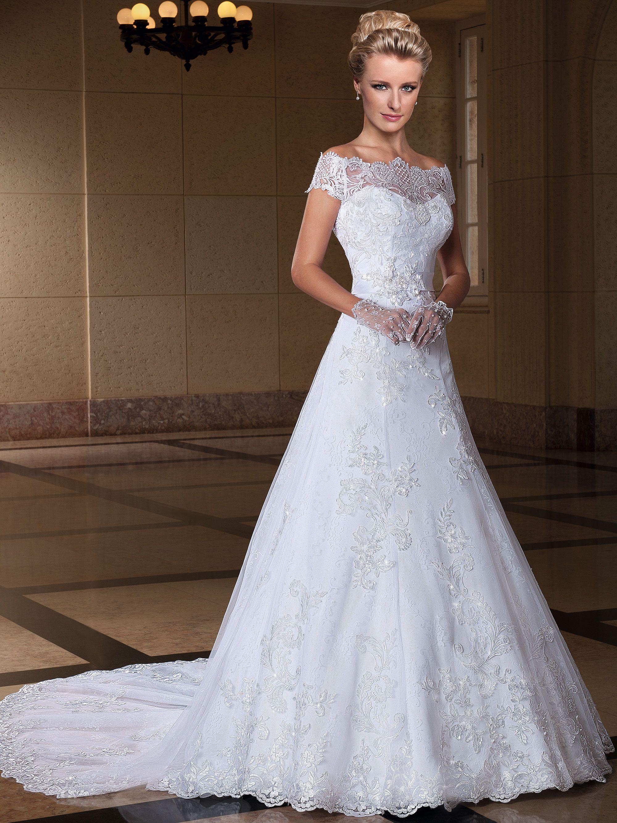 Vestido renda noiva festa simples casamento decote manga