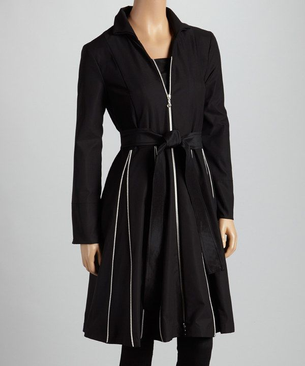 Another great find on #zulily! Samuel Dong Black & White Contrast-Trim Coat by Samuel Dong #zulilyfinds