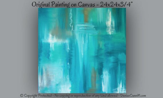 Turquoise Wall Art Canvas Original Abstract Painting Teal Aqua