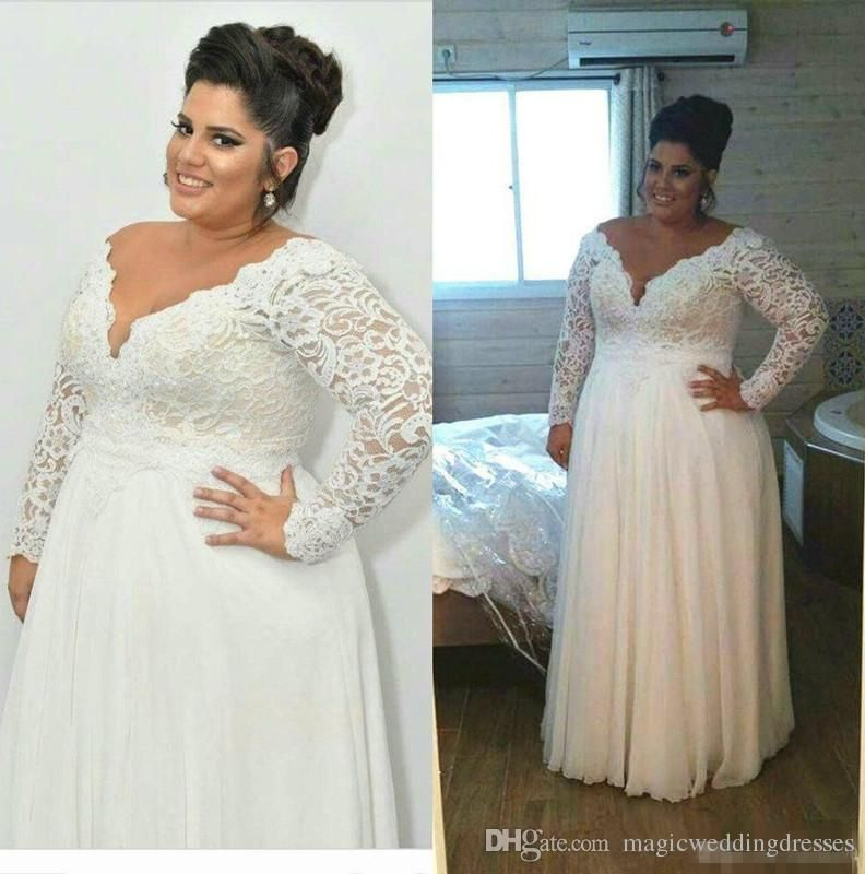 0056d8e56de Discount Cheap Full Lace Plus Size Wedding Dresses With Removable Long  Sleeves Deep V Neck Bridal