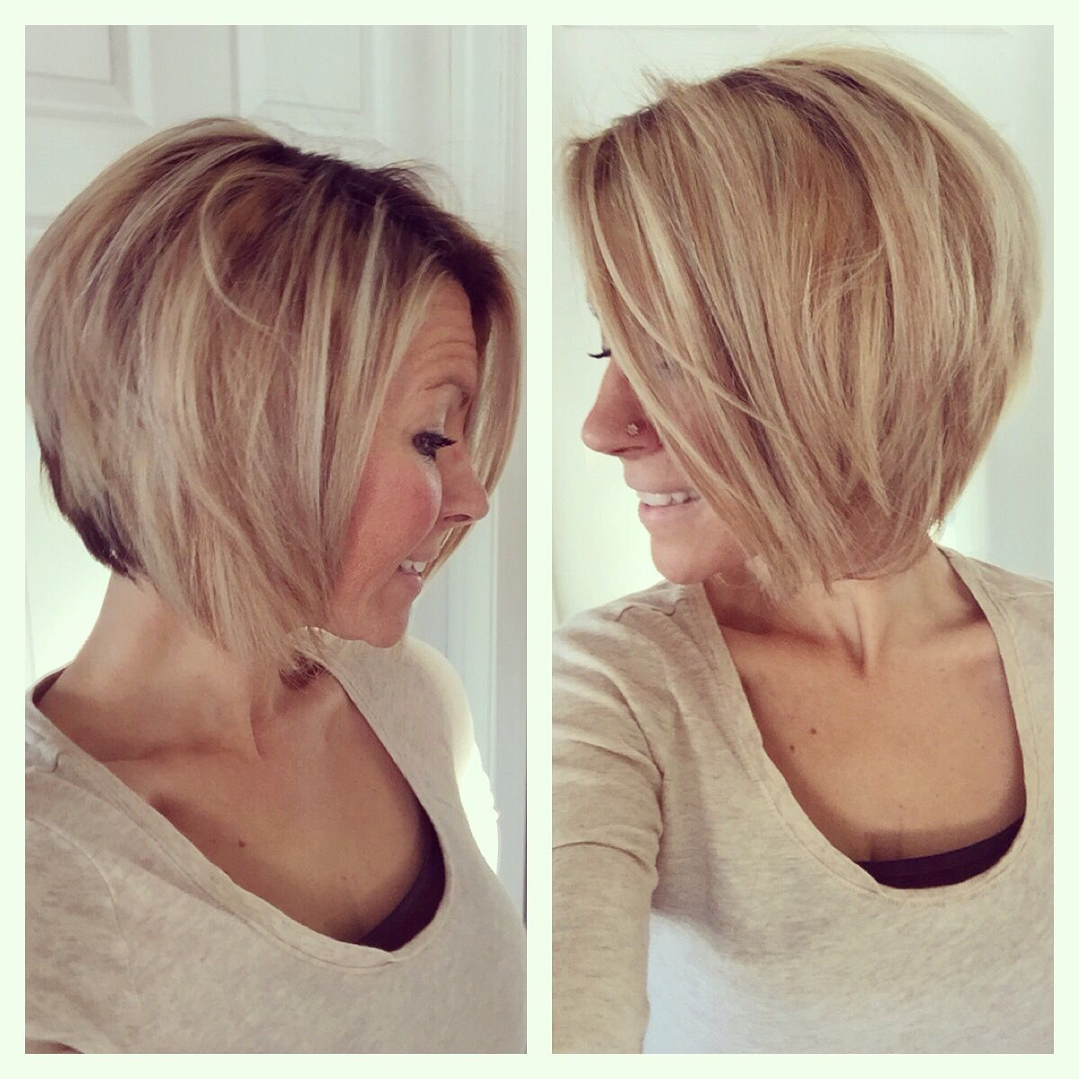 Short medium angled bob haircut. Reverse Bob. Blonde highlight