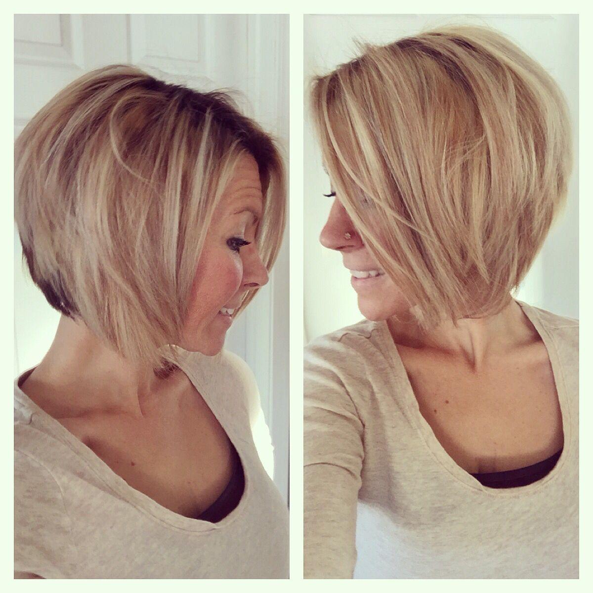 short medium angled bob haircut. reverse bob. blonde highlight