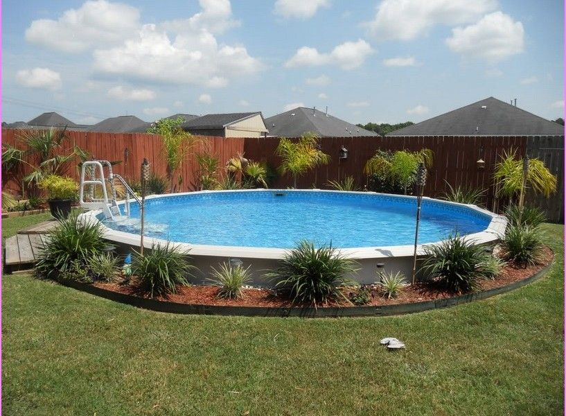 Landscaping around above ground pool design pool for Above ground pool border ideas