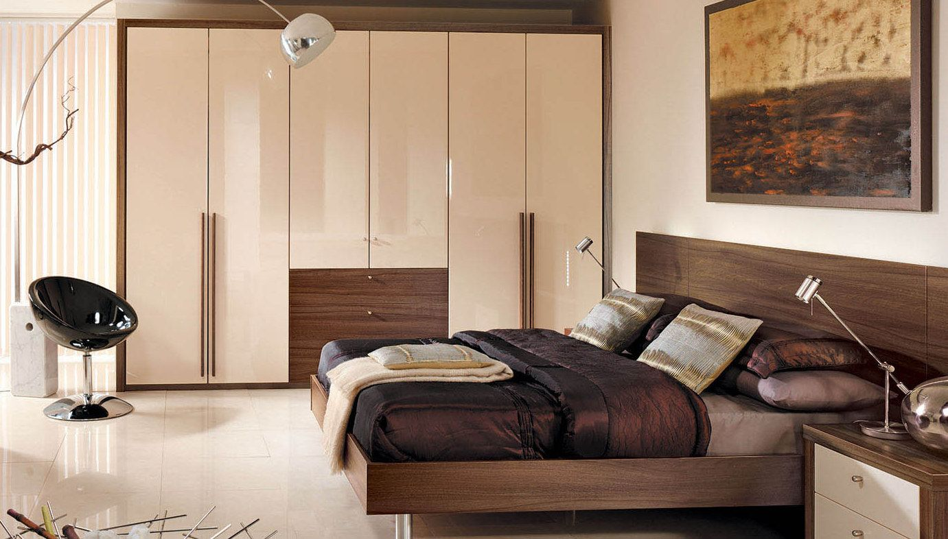 Stunning 6 Door Arrangement Fitted Wardrobe In High Gloss Cream And Tobacco Pacifi Contemporary Bedroom Walnut Bedroom Furniture Contemporary Bedroom Furniture