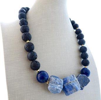 Photo of Lapis lazuli necklace, black lava necklace, statement necklace, blue chunky necklace, bold choker, raw stone jewelry, modern jewelry, bijoux
