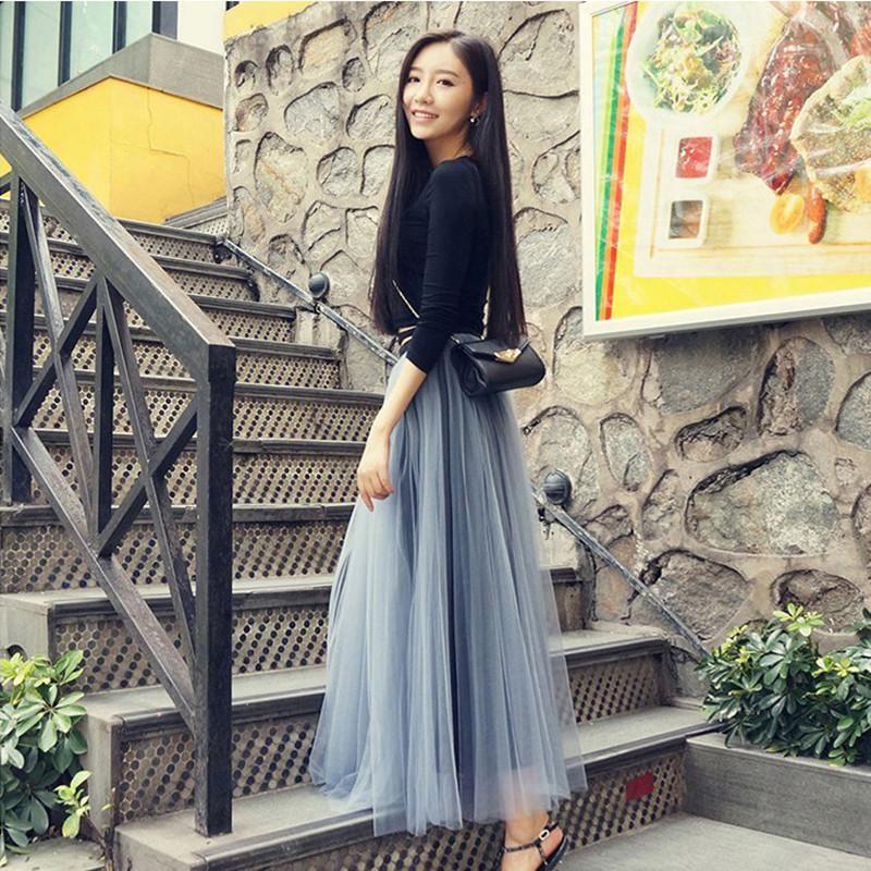 Women's Clothing Skirts 2017 Spring Fashion Faldas Korean Style Big Swing Maxi Skirts Womens Summer Jupe High Waist Tutu Adult Long Tulle Skirt