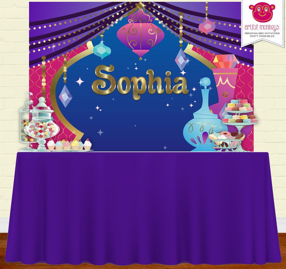 photograph relating to Printable Backdrop called Electronic Printable Genie Backdrop Get together Banner Poster