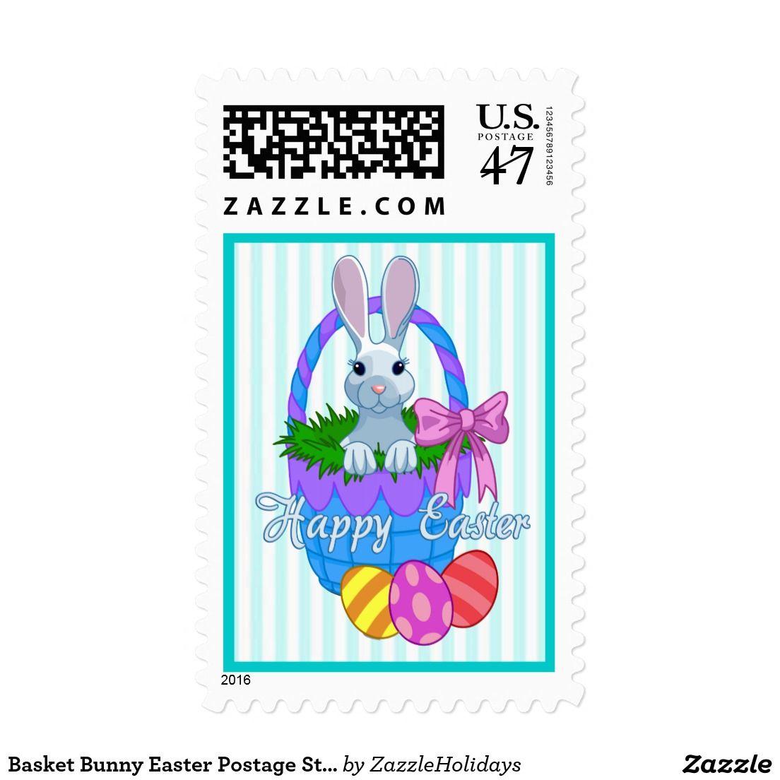 Basket Bunny Easter Postage Stamps