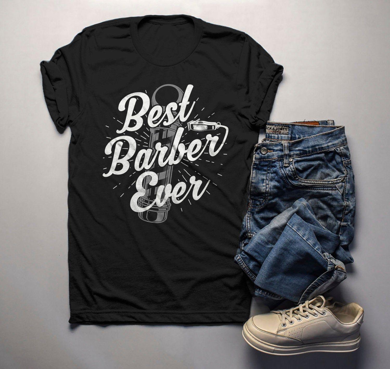 Men's Best Barber Ever T-Shirt Vintage Graphic Tee Barbers Pole Shirt Vintage Barber TShirt