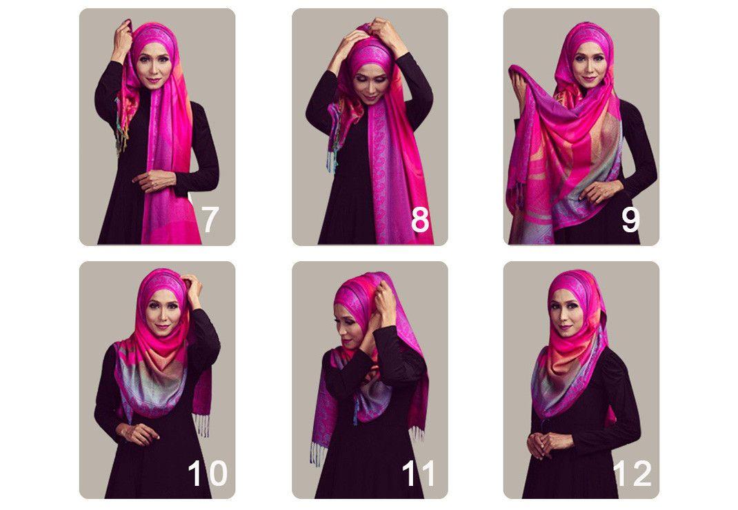 Cara Mudah Utk Memakai Selendang Pashmina Dalam 2 Minit Tutorial Hijab Segitiga Buble Georgete Zolace Square