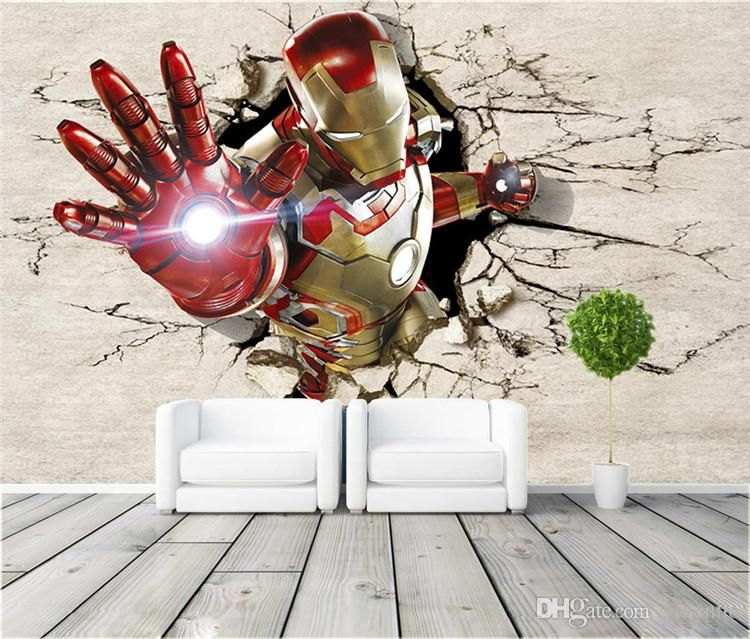 3d view iron man wallpaper giant wall murals cool photo wall murals for teen boys submited images
