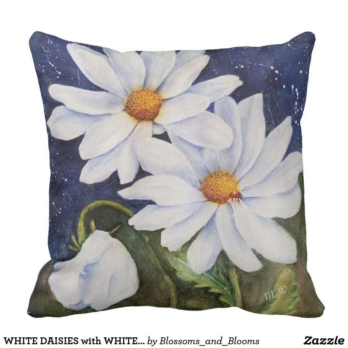 White Daisies With White Sweet Pea Flower Patio Outdoor Pillow