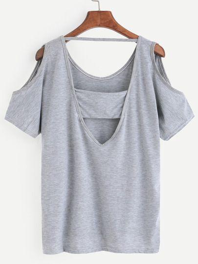 Grey Open Shoulder Cutout High Low T-shirt