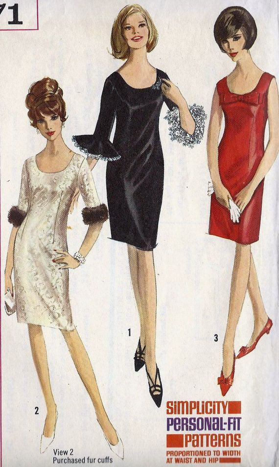 1960s Cocktail Dress Vintage Sewing Pattern by MissBettysAttic, $12.00