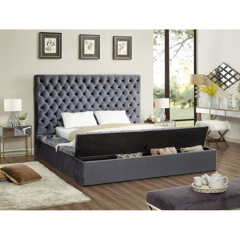 Diamond Tufted Oversized Bed With Storage Bench And Ottoman By