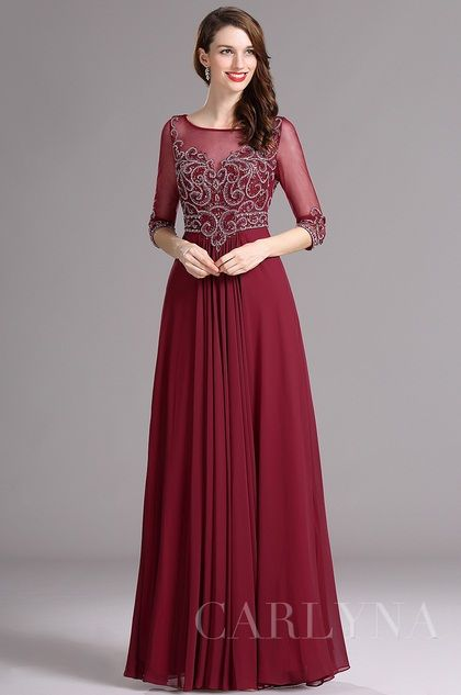 c40861311e Dark red half sleeves evening dress mother formal dress with beading ...