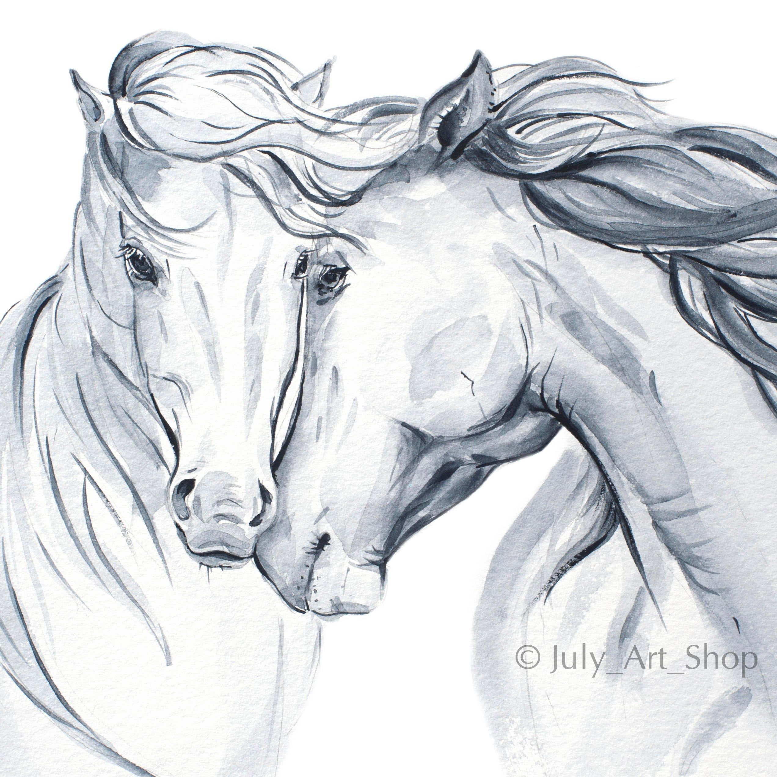 Artículos similares a Digital horse Black white print Download horse Gift for lover horses Watercolor Horse Couple horse Animal love Watercolor painting download en Etsy