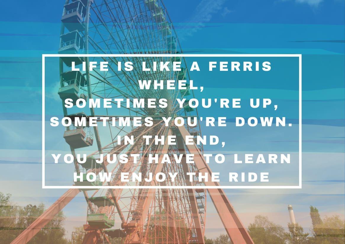 Life Is Like A Ferris Wheel Riesenrad Zitat Quote Spruch Englisch English German Spreepark Enjoy Scream Postcard Rad Rummel Spark Spruche Zitate Spruche Zitate