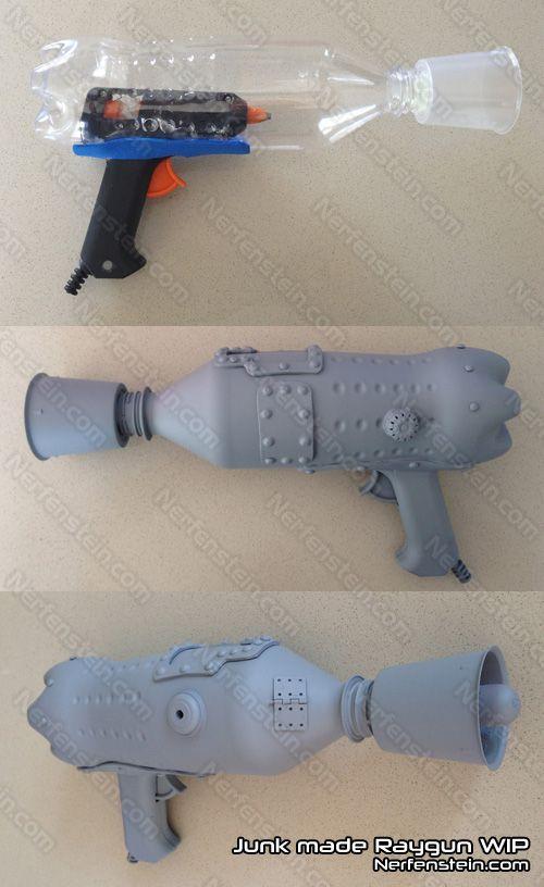 Aha, use an old glue gun for the handle! Smart! [DIY raygun build]