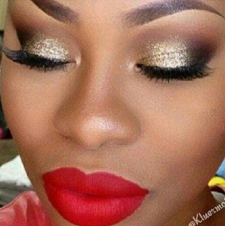 Gold Eye Red Lip Gold Eyes How To Do Eyeshadow Eye Makeup