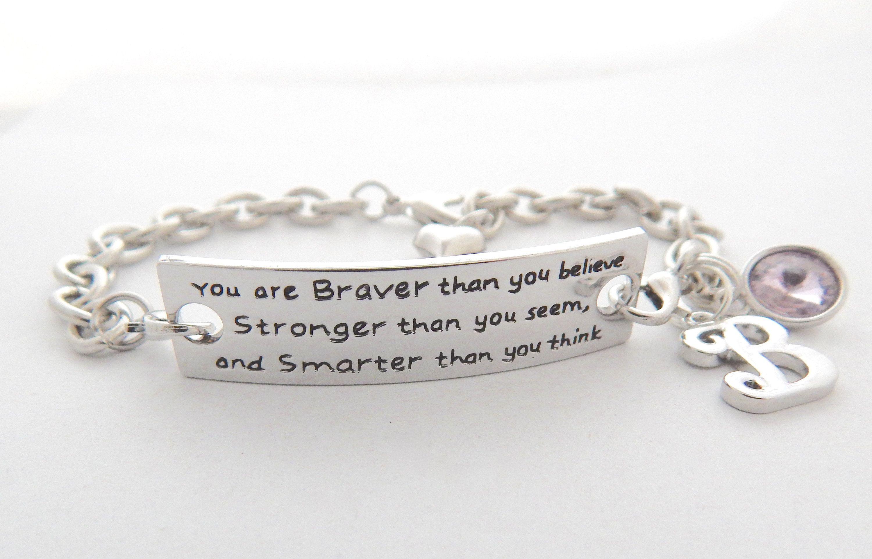 Inspirational Bracelet Silver Link Jewelry Braver Stronger Motivational Graduation Gift