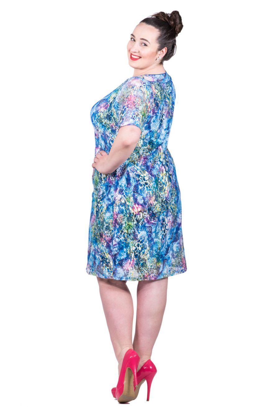 dfd73994 Niebiesko-zielona koronkowa sukienka - Modne Duże Rozmiary | MDR ...
