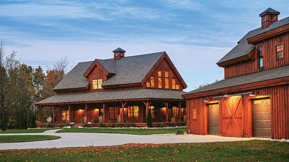This Michigan Home Combines Modern Design With The Classic American Farmhouse Barn Style House Barn House Plans Pole Barn House Plans