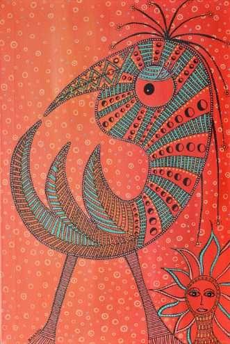 Kunstsamlingen | Artist: Barbara Kaad Ostenfeld | Title: En Fugl uden vinger er også en fugl - medmindre den er en reje... | Height: 60cm,  Width: 40cm | Find it at kunstsamlingen.com #kunstsamlingen #kunst #artcollection #art #painting #maleri #galleri #gallery #onlinegallery #onlinegalleri #kunstner #artist #danishartists #bakaos