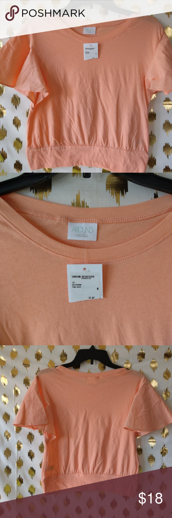 d78f6e968fe Abound Coral Crop top SZ S Cute ruffle sleeve crop top. Coral. NWT, no  flaws. Any questions please ask. I am always up for offers. Thank you for  looking.