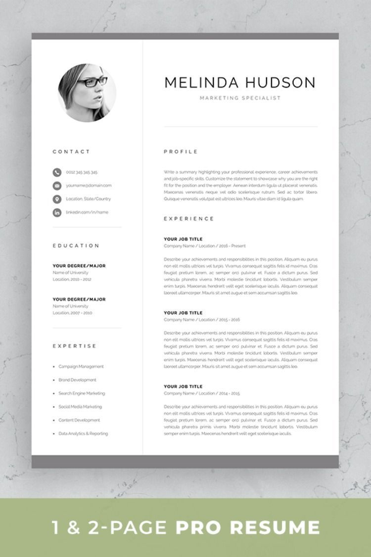 Professional resume template set with onepage and two